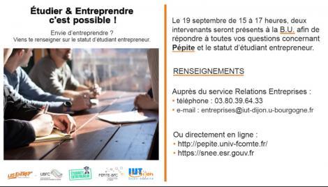 Tout savoir sur le statut d'étudiant entrepreneur ? Rdv 19/09 - IUT Auxerre