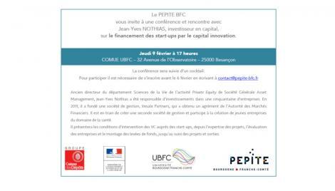 """conférence """"Le financement des start-ups par le capital innovation"""""""