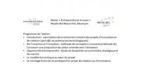 """Workshop """"Entreprendre et innover"""" - Musée des Beaux Arts et d'Archéologie de Besançon"""