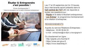 Tout savoir sur le statut d'étudiant entrepreneur ? Rdv 17/09 - IUT Dijon